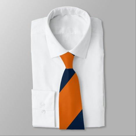 Orange and Shy Blue Broad Regimental Stripe Neck Tie