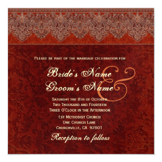 Orange and Sienna Damask Ribbon Wedding Personalized Announcements