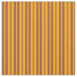 [ Thumbnail: Orange and Sienna Pattern of Stripes Fabric ]