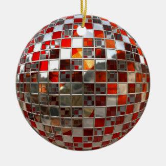 Orange and Silver Disco Ball Mirror Ornament