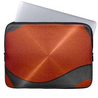 Orange and Silver Stainless Steel Metal Laptop Sleeve