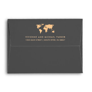 Orange and Smoky Gray | World Map Wedding Envelope