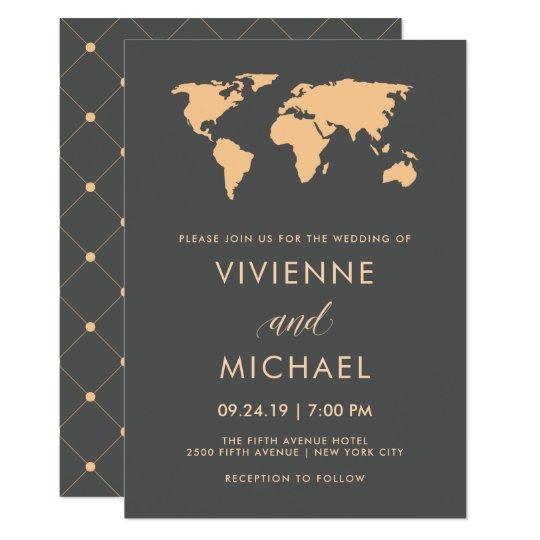 World Map Wedding Invitations.Orange And Smoky Gray World Map Wedding Invitation Zazzle Com