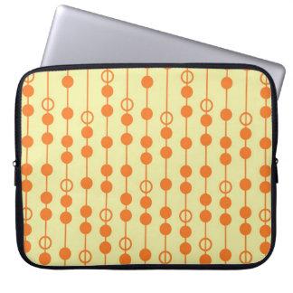 Orange and Tan Beads on Stripes Pretty Pattern Laptop Sleeve