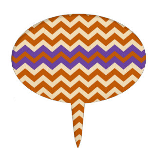Orange and Tan Chevrons With Purple Cake Topper