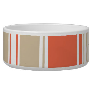 Orange and Tan Modern Stripes Bowl