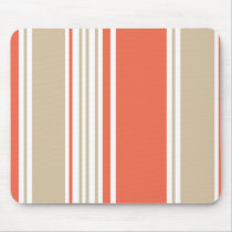 Orange and Tan Modern Stripes Mouse Pad
