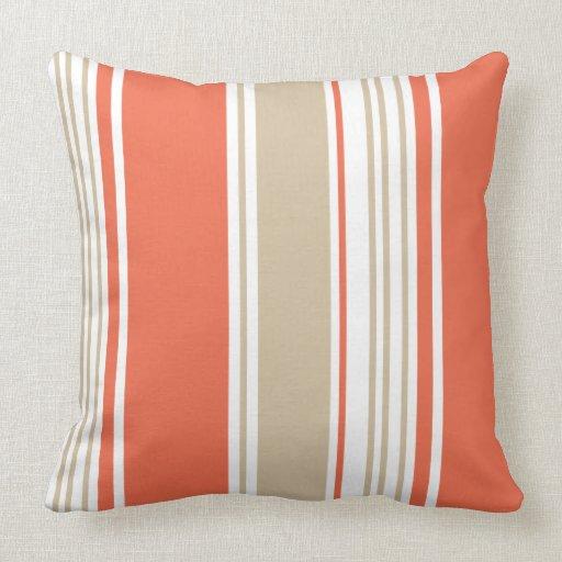 Modern Family Pillow Stripe : Orange and Tan Modern Stripes Pillows Zazzle