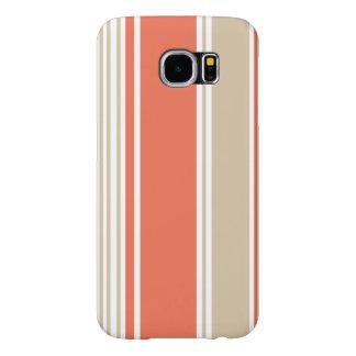 Orange and Tan Modern Stripes Samsung Galaxy S6 Cases