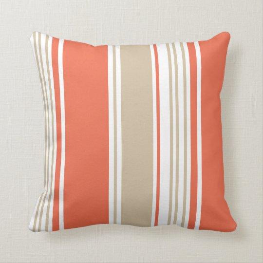 Orange and Tan Modern Stripes Throw Pillow