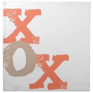 Orange and Tan XOX Cloth Napkins