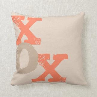 Orange and Tan XOX Throw Pillows