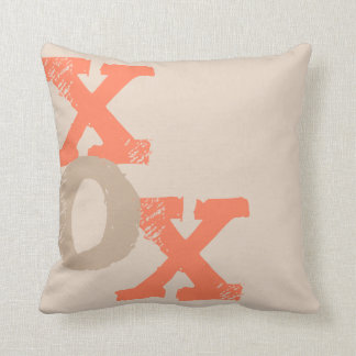 Orange and Tan XOX Throw Pillow