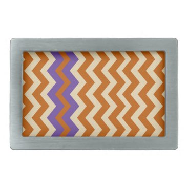 Aztec Themed Orange and Tan Zigzags With Border Belt Buckle