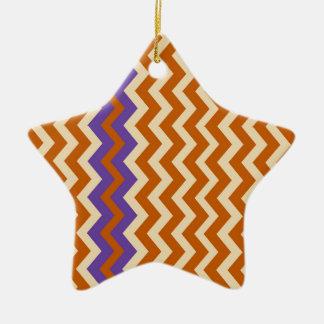Orange and Tan Zigzags With Border Ceramic Ornament