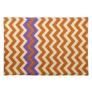 Aztec Themed Orange and Tan Zigzags With Border Cloth Placemat