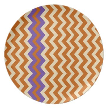 Aztec Themed Orange and Tan Zigzags With Border Dinner Plate