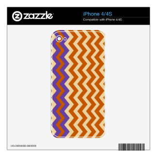 Orange and Tan Zigzags With Border iPhone 4 Decals