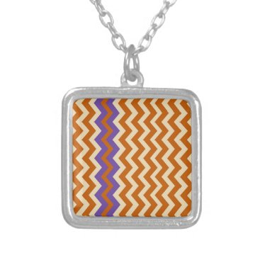 Aztec Themed Orange and Tan Zigzags With Border Silver Plated Necklace