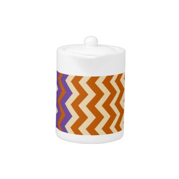 Aztec Themed Orange and Tan Zigzags With Border Teapot