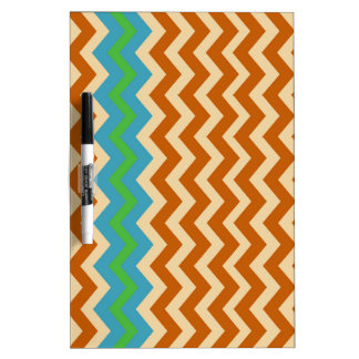 Orange and Tan Zigzags With Green Border Dry-Erase Board