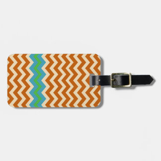 Orange and Tan Zigzags With Green Border Luggage Tag