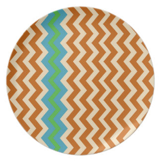 Orange and Tan Zigzags With Green Border Plate