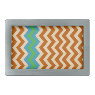Orange and Tan Zigzags With Green Border Rectangular Belt Buckles