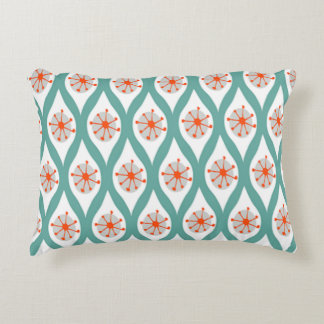 Orange and Teal Abstract Decorative Pillow