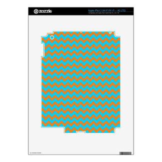 Orange and Teal Blue Chevron Pattern iPad 3 Decals