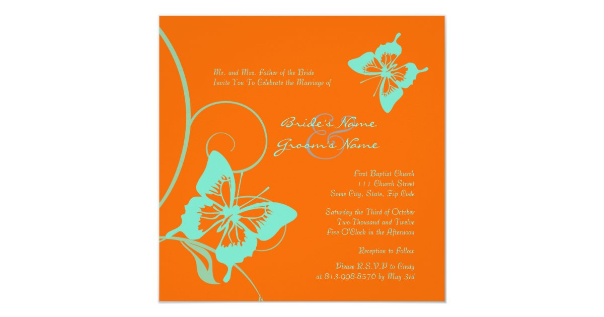 Orange And Teal Butterfly Wedding Invitation Zazzle