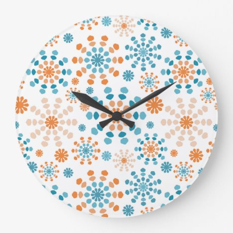 Orange and Teal Color Bursts Large Clock