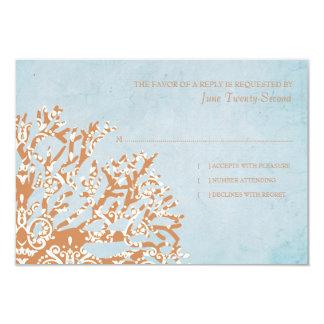 Orange and Teal Coral Beach Wedding RSVP Card