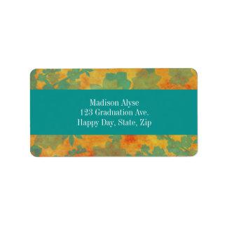 Orange and Teal Floral Graduation Address Labels