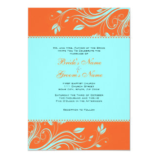 488 Turquoise And Orange Wedding Invitations Turquoise