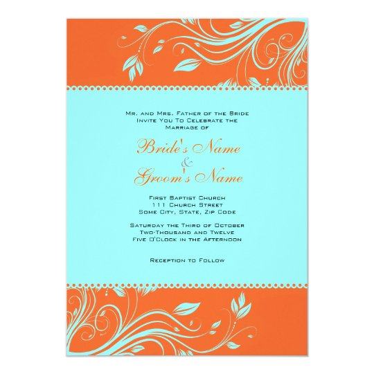 Orange And Teal Fl Swirls Wedding Invitation