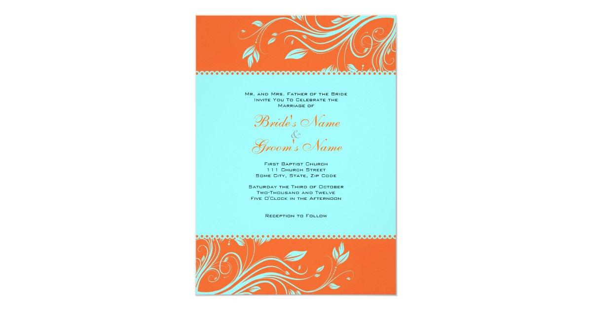Orange and Teal Floral Swirls Wedding Invitation   Zazzle.com