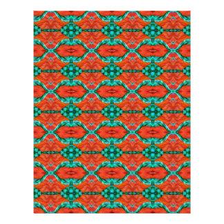 Orange and Teal Oriental Rug Pattern Letterhead