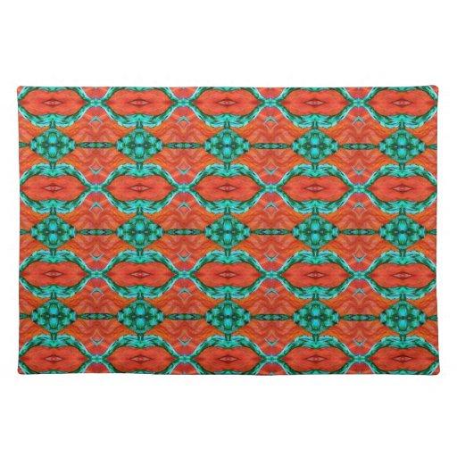 Orange And Teal Oriental Rug Pattern Place Mat