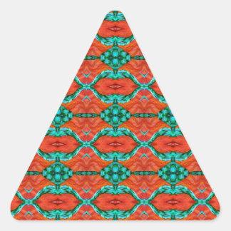 Orange and Teal Oriental Rug Pattern Triangle Sticker
