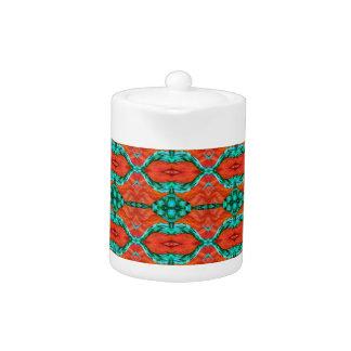 Orange and Teal Oriental Rug Pattern