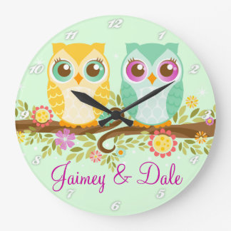 Orange and Teal Owls - Custom Wall Clock