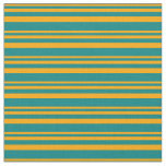 [ Thumbnail: Orange and Teal Stripes Pattern Fabric ]