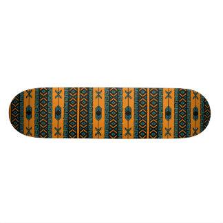 Orange And Teal Tribal Pattern Skateboard Deck