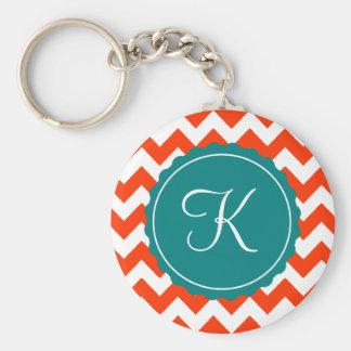 Orange and Teal Zig Zag Custom Initial Basic Round Button Keychain