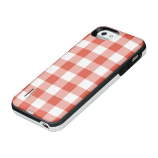 Orange and Transparent Gingham Pattern iPhone SE/5/5s Battery Case