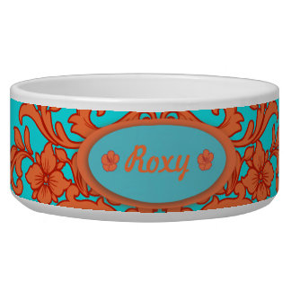 Orange and Turquoise Damask Bowl