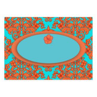 Orange and Turquoise Damask Business Card