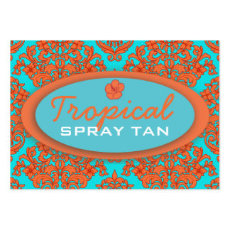 Orange and Turquoise Damask Business Card Templates