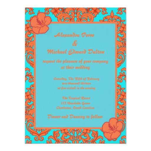 Orange and Turquoise Damask Card